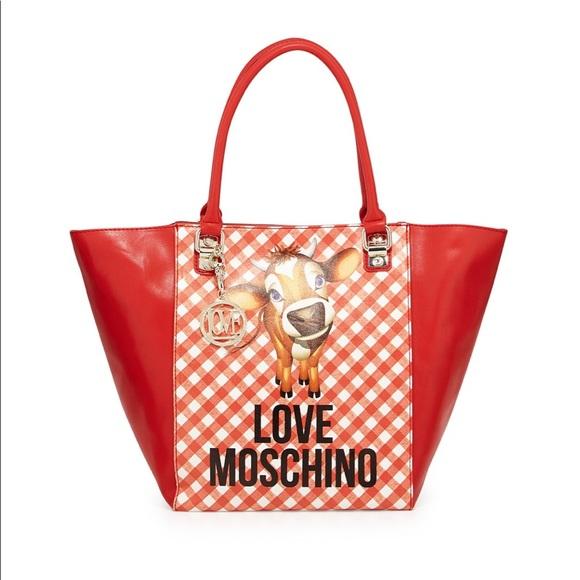 82c12fa6b6f75 Love Moschino Handbags - Love Moschino Cow Ginghamprint Tote Bag